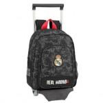 Mochila escolar Real Madrid 34x28x10 cm de Poliester Black con ruedas