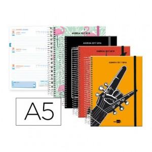 Agenda Escolar 17-18 Semana Vista DIN A5 Tapa Forrada Bilingüe Liderpapel Pop Art No se puede elegir color