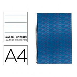 Bloc Din A4 espiral Microperforado Tapa forrada rayado Multilider Liderpapel azul