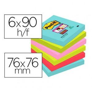 Bloc Quita y Pon Post-It ® Super Sticky 76X76 mm Colores Miami