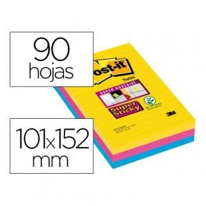 Bloc de notas rayado adhesivas marca Post-it super sticky 101 X 152 mm 90 hojas 3 colores