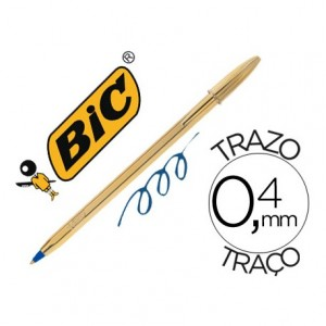 Boligrafo Bic Cristal Celebration Oro Tinta Azul