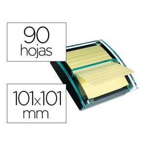 Dispensador Millenium notas adhesivas marca Post-it color transparente-negro Super Sticky con un Bloc
