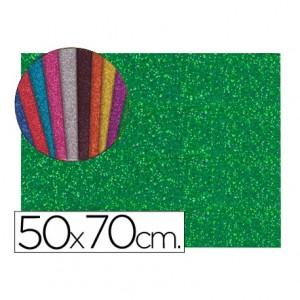 Goma eva con purpurina Liderpapel verde