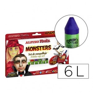Barra maquillaje Alpino monsters caja de 6 colores surtidos
