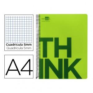 Bloc Din A4 Liderpapel serie Think cuadricula de 5 mm verde
