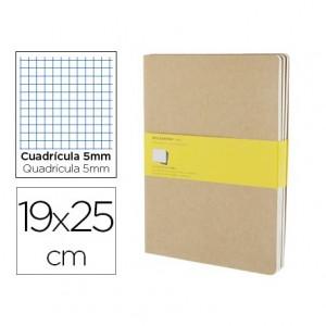 Libreta Moleskine tapa blanda cuadricula color kraft pack (3) 19x25 cm