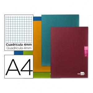 Libreta escolar 90 gr. Liderpapel Scriptus DIN A4. Cuadrícula de 4 mm. Con margen. 48 hojas.