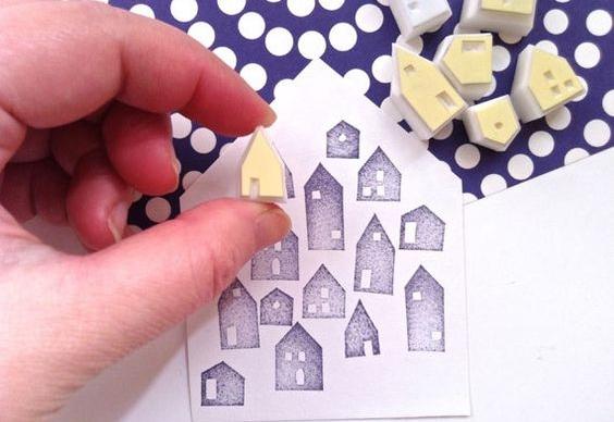 Hacer sellos con gomas de borrar