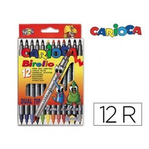 Rotulador Carioca Birello Duo grueso y fino caja 12 rotuladores