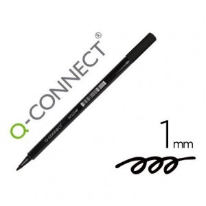 Rotulador Q-Connect punta de fibra redonda 1mm color negro