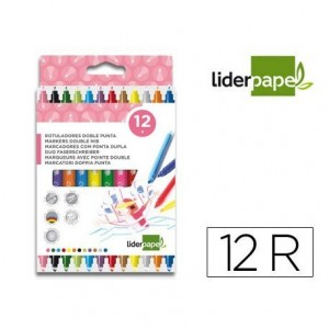 Rotuladores Liderpapel Duo lavable grueso caja 12 rotuladores