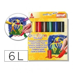 Tempera solida en barra Instant Pocket 6 uds