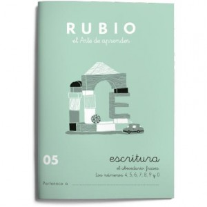 Cuaderno Rubio Escritura nº 05 Abecedario frases y números 4 5 6 7 8 9 y 0 con puntos dibujos y grecas