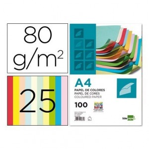 Papel color Liderpapel tamaño A4 80 g m2 pack 100 hojas 25 Colores Surtidos