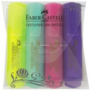 Rotulador Faber Castell fluorescente 1546 pastel estuche 4 unidades colores surtidos