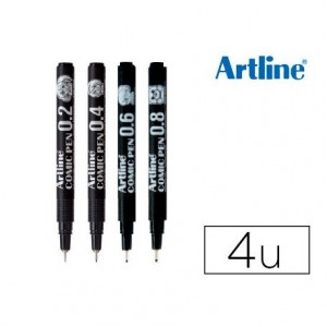 Rotulador Artline Comic Calibrado Micrometrico Color Negro Bolsa de 4 Unidades 0,2 0,4 0,6 y 0,8mm