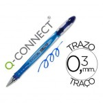 Boligrafo transparente Q-Connect gel azul 0,3 mm