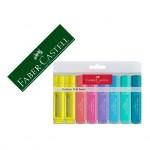 Rotulador Faber Castell fluorescente 1546 pastel textliner estuche 8 unidades colores surtidos