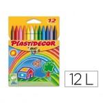 Lapices cera Plastidecor caja de 12 unidades colores surtidos