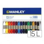 Lapices cera blanda Manley 15 unidades