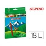 Lapices de Colores Alpino Hexagonales Caja 18 lapices largos